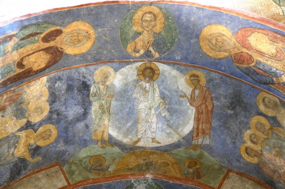 Fresco from the Holy Transfiguration Cathedral of the Mirozhsky Monastery in Pskov. Circa 1156.