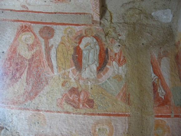 "Fresco from the so-called ""Hidden Church."" Unknown date. Goreme, Cappadocia, Turkey."