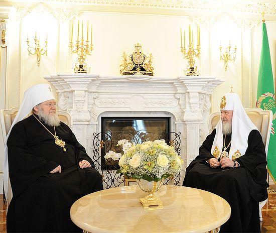 Patriarch Kirill receives Metropolitan Hilarion of Eastern America and New York