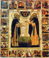 Saints Zosima (left) and Savvatiy (right) with their lives. The 16th century icon is now located in the Russian Museum, Saint-Petersburg, Russia