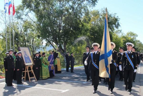 Submarine Sailors Meet Icon of St. Sergius of Radonezh