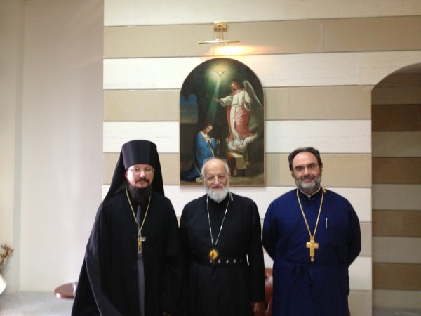 Representative of the Russian Orthodox Church meets with Melkite Patriarch Gregory III Laham