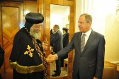 Russian Foreign Minister Sergei Lavrov meets with Primate of the Coptic Church