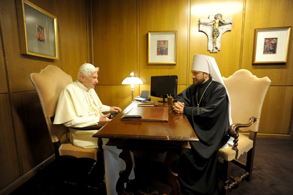 Metropolitan Hilarion meets with Pope Emeritus Benedicts  XVI and Russia's Ambassador to Vatican