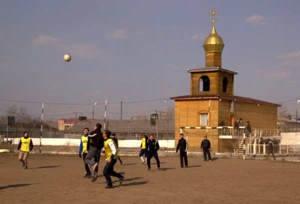 Representatives of the Khabarovsk Diocese Play Soccer with Inmates of a Penal Institution