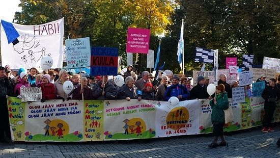 Protest against same-sex marriage bill held in Estonia