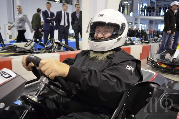 Metropolitan Theophan of Simbirsk Takes a Ride to the Largest Covered Go-Kart Track in Russia