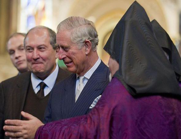 Charles meets with members of the church