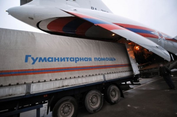Russian jet delivers relief aid to Syria