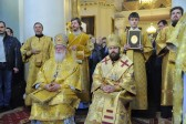 Metropolitan Kallistos of Diocleia and Hilarion of Volokolamsk celebrate at the Church of 'Joy of all the Afflicted' iIcon of the Mother of God