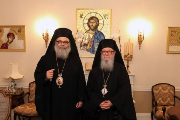 Patriarch John X meets Archbishop Demetrios of the Greek Orthodox Archdiocese of America