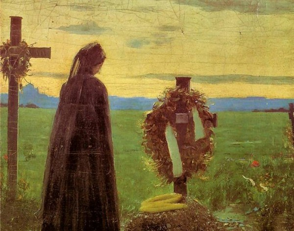 Teodor Axentowicz. Mother at the grave of her son