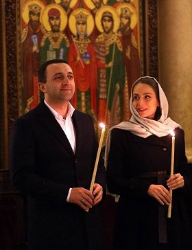 The Prime Minister Irakli Garibashvili with his wife