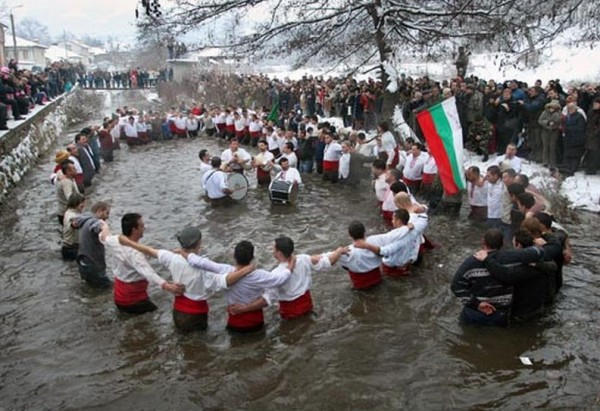 5-year-old boy youngest participant in traditional men's chain dance in Bulgaria's Kalofer