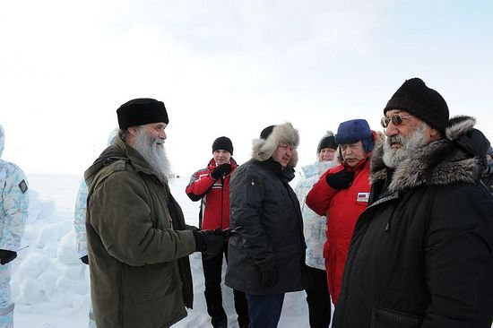 Bishop Iakov and the country representatives delegation - the members of the Arctic Council in the North Pole