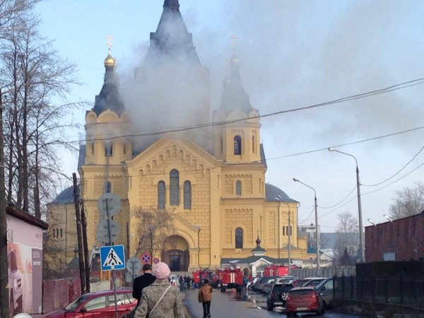 Alexander Nevsky Cathedral burning in Nizhny Novgorod