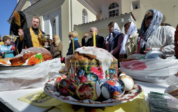 Consecration of Easter eggs and cakes at the Holy Spirit Cathedral in Minsk, Belarus.