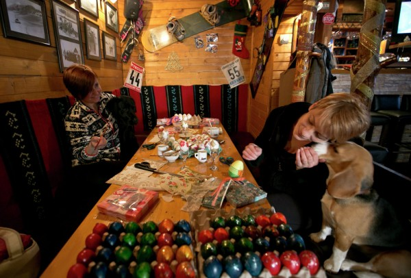 Kosovo Serb women decorate Easter eggs for the upcoming Orthodox Easter in the village of Brezovica, 55 miles northwest Pristina. April 10, 2015.