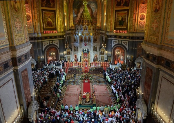 Easter service at the Christ the Savior Cathedral in Moscow, Russia.