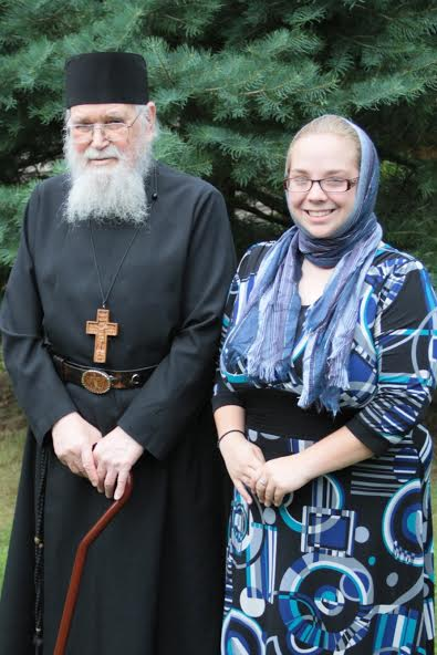 Archimandrite Roman with interviewer Jessica Precop.