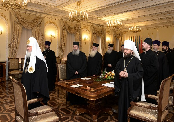 Primate of the Russian Orthodox Church receives members of the Commission on preparation for the 1000th anniversary of Russian monasticism on Mount Athos