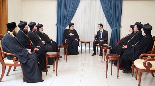 Syria's Assad meets with Orthodox prelates, pledges support against Islamic terror
