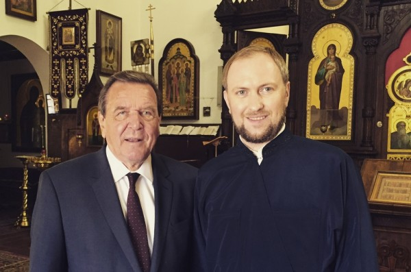 Former German chancellor Gerhard Schröder visits Cathedral of Resurrection in Berlin