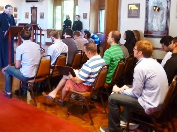 Fr. John Behr addresses students during orientation at St. Vladimir's Seminary, Yonkers, NY.