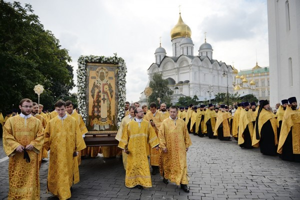 His Holiness Patriarch Kirill leads procession of the cross marking the 700th anniversary since St Peter, first Metropolitan of Moscow, began his service in Moscow