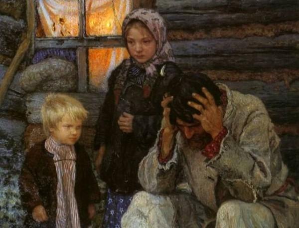 """Nikolay Petrovich Bogdanov-Belsky  """"Misery"""""""