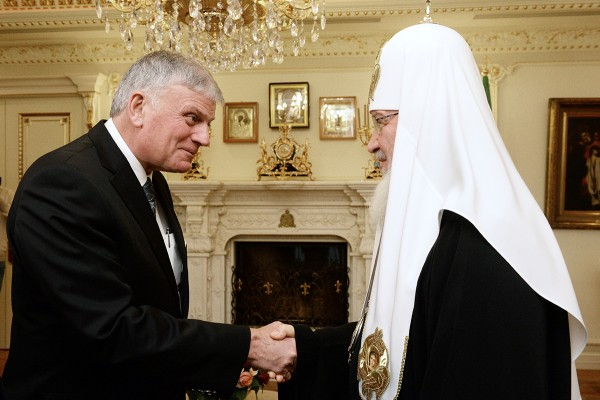 His Holiness Patriarch Kirill meets with William Franklin Graham President of Billy Graham Evangelistic Association
