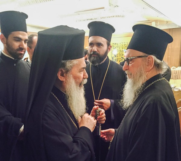 Archbishop Demetrios of America converses with Patriarch Theofilos of Jerusalem