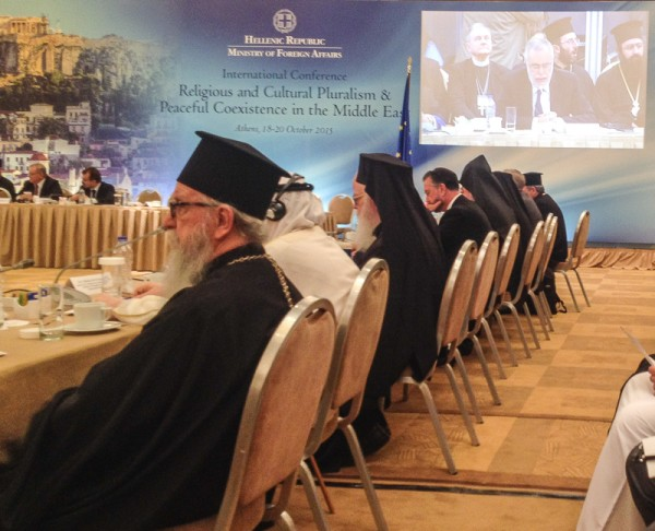 Archbishop Demetrios highlights the contributions and role of IOCC in Middle East Conference, in Athens