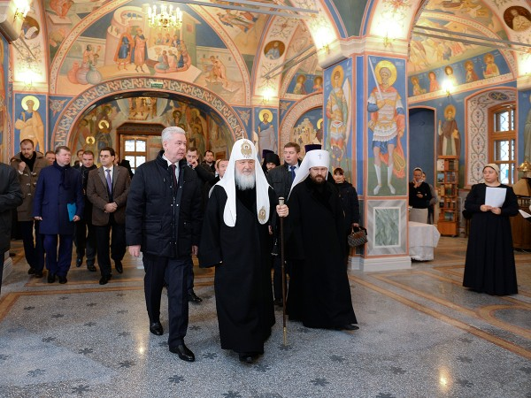 Patriarch Kirill and Moscow Mayor visit Patriarchal Metochion of the Holy Martyrs of Chernigov in Moscow