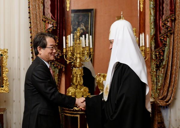 His Holiness Patriarch Kirill meets with Japan's ambassador to Russia