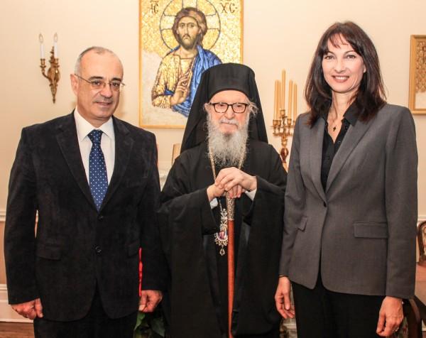 Greek Ministers Dimitris Mardas and Elena Kountoura Visit Archbishop Demetrios