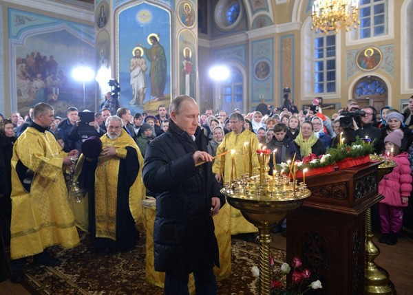 Putin Celebrates Orthodox Christmas at Turginovo Church