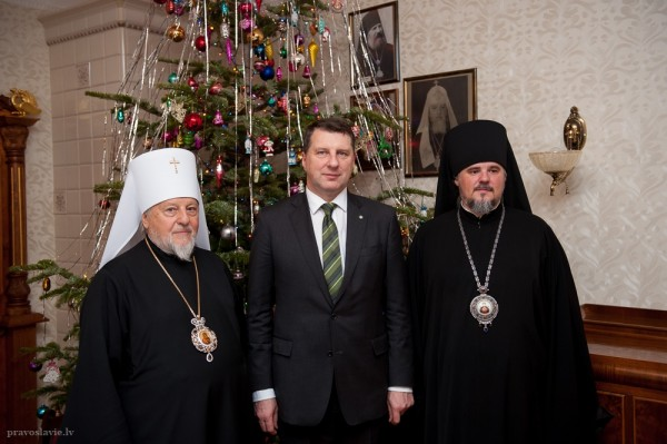 Metropolitan Alexander of Riga and Latvia meets with Latvia's President Raimonds Vejonis