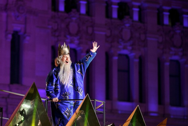 A performer dressed as Melchior (one of the three kings) waves during the Cabalgata de Reyes, or the Parade of the Magi, in Madrid, Spain Pablo Blazquez Dominguez/Getty Images
