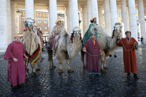 Faithful dressed as the three Magi (the Three Wise Men) gather in St Peter's Square to attend Pope Francis' Angelus blessing Franco Origlia/Getty Images