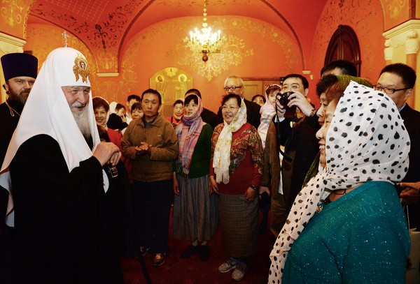 His Holiness Patriarch Kirill meets with a group of pilgrims from China