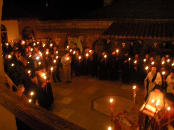 Paschal Matins begins in the monastery's courtyard