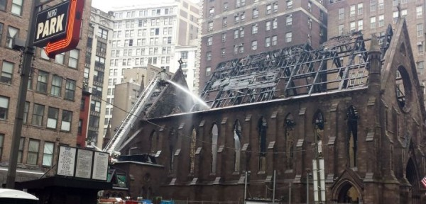 Metropolitan Tikhon offers prayers after fire at NYC's Serbian Cathedral