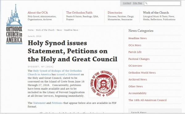 The Holy Synod of Bishops of the Orthodox Church in America issues Statement, Petitions on the Holy and Great Council