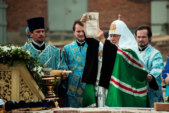 Patriarch Kirill lays down foundation of cathedral on site where miracle-working icon was obtained in Kazan