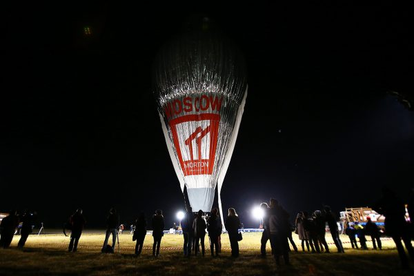 Spectators start gathering before sunrise as Fedor Konyukhov prepares to depart at Northam Aero Club (Paul Kane/ Getty Images)