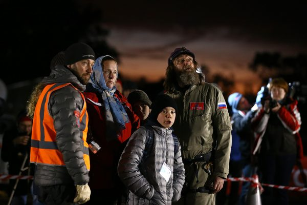 Fedor Konyukhov looks on with family members before lift off from the Northam Aero Club (Paul Kane/ Getty Images)
