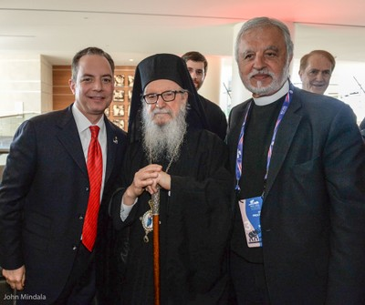 His Eminence Archbishop Demetrios with RNC Chairman Reince Priebus and  Rev. Alexander Karloutsos (photo John Mindala)