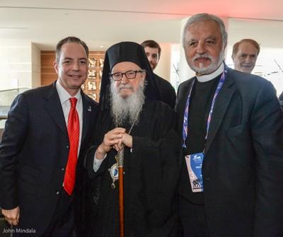 His Eminence Archbishop Demetrios with RNC Chairman Reince Priebus and  Rev. Alexander Karloutsos (photo John Mindala)