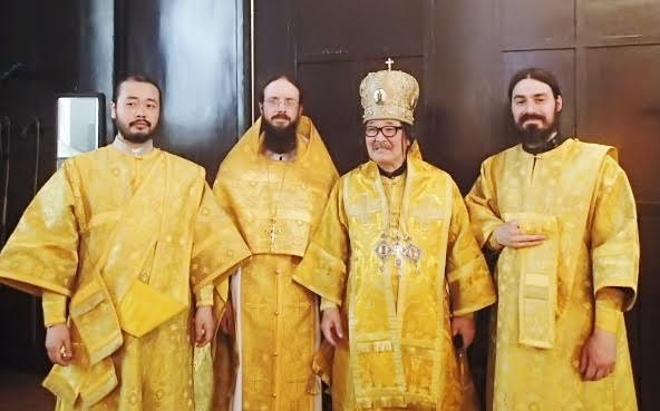 "Divine Liturgy at Tokyo's ""Nikolai-Do""—from left, Deacon Iliya Toru, Archimandrite Sergius, Metropolitan Daniel, and Hierodeacon Maximus."